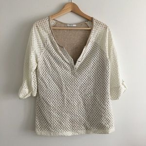 TART Eyelet Button Up Knit Top Lined Blouse